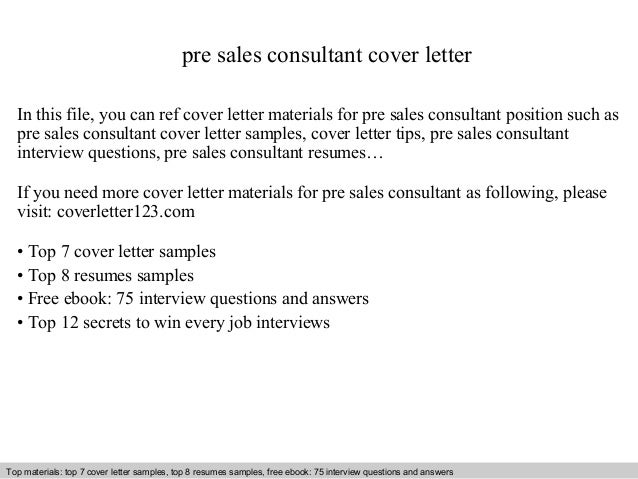 Pre Sales Consultant Cover Letter In This File, You Can Ref Cover Letter  Materials For ...