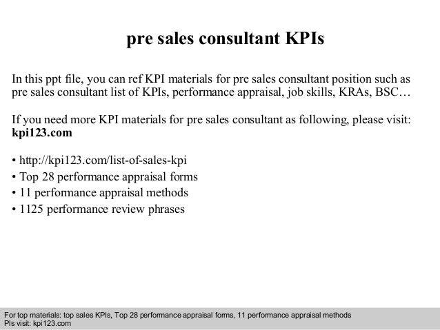 Pre Sales Consultant Kpis