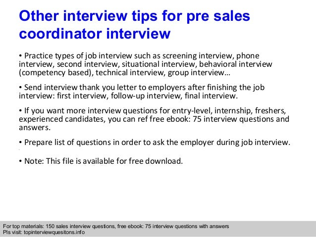 Pre Sales Coordinator Interview Questions And Answers