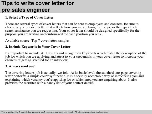 Pre sales engineer cover letter