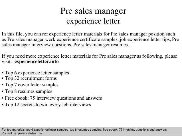 Pre sales manager experience letter 1 638gcb1409129101 interview questions and answers free download pdf and ppt file pre sales manager experience spiritdancerdesigns Choice Image