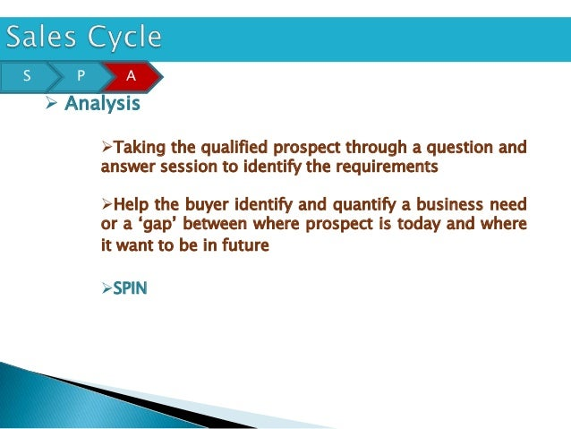 S      P      A     Analysis           Taking the qualified prospect through a question and           answer session to ...