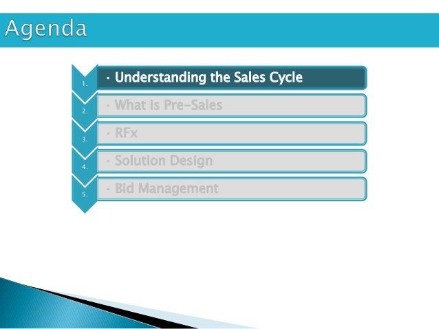 1.     • Understanding the Sales Cycle2.     • What is Pre-Sales3.     • RFx4.     • Solution Design5.     • Bid Management