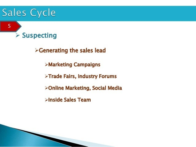 S     Suspecting         Generating the sales lead            Marketing Campaigns            Trade Fairs, Industry For...