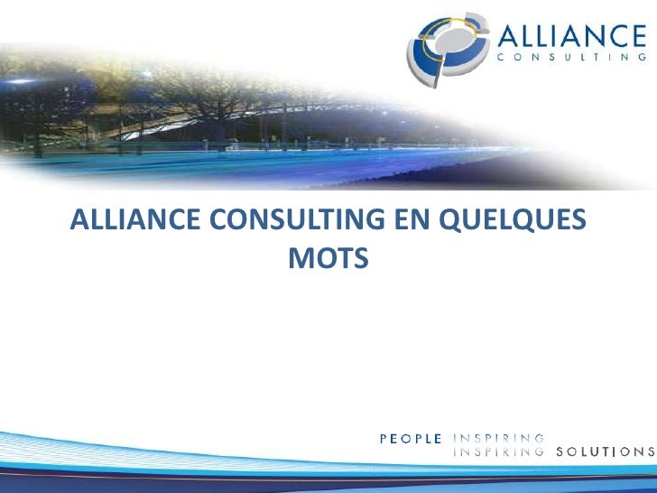 Alliance Consulting en quelquesmots<br />