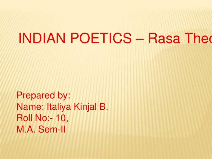 INDIAN POETICS – Rasa Theory<br />Prepared by:<br />Name: Italiya Kinjal B.<br />Roll No:- 10,<br />M.A. Sem-II<br />