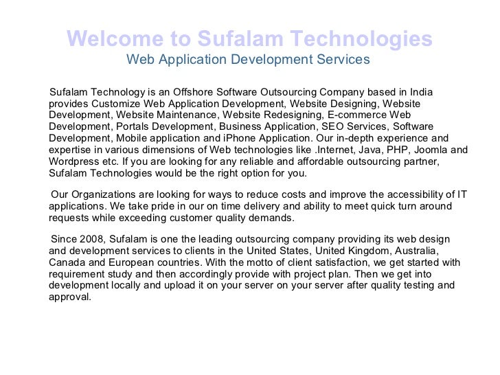 Welcome to Sufalam Technologies Web Application Development Services  <ul><li>Sufalam Technology is an Offshore Software O...