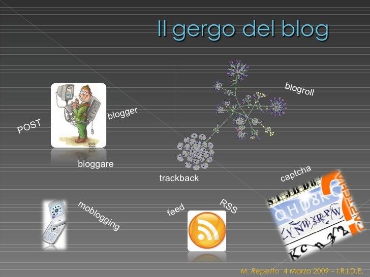 POST blogger bloggare trackback feed RSS blogroll moblogging captcha M. Repetto  4 Marzo 2009 – I.R.I.D.E.