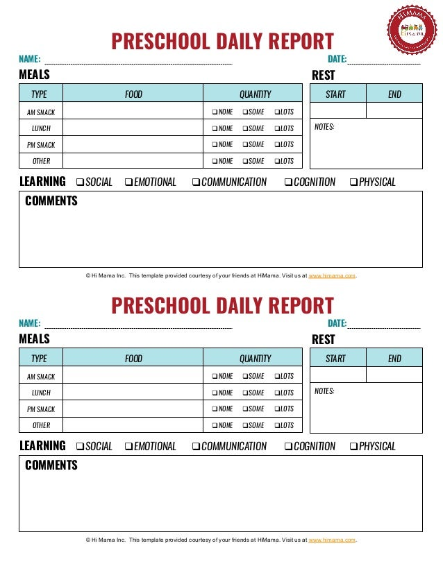 Cute attendance sheet template