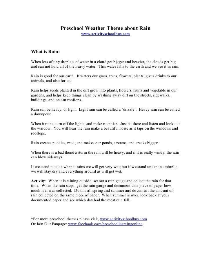 Preschool Lesson Plan - Rain & Weather