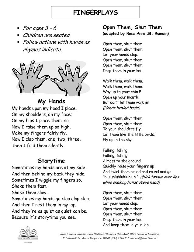 Finger Plays And Songs - Lessons - Tes Teach
