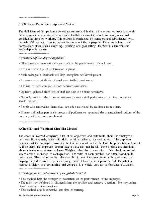 14 Job Performance Evaluation Form