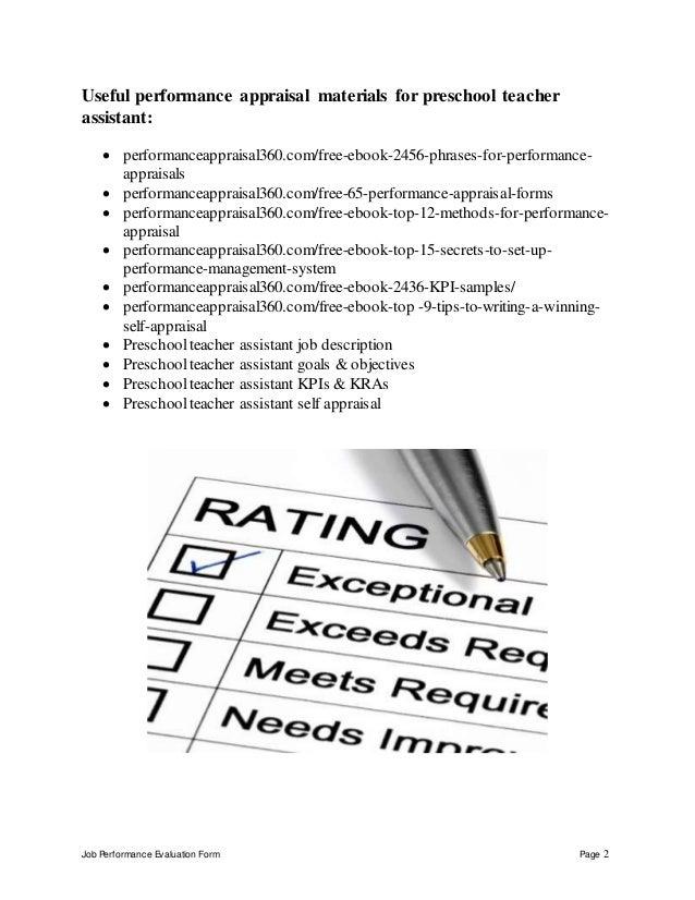 Preschool teacher assistant perfomance appraisal 2 – Teacher Self Evaluation Form