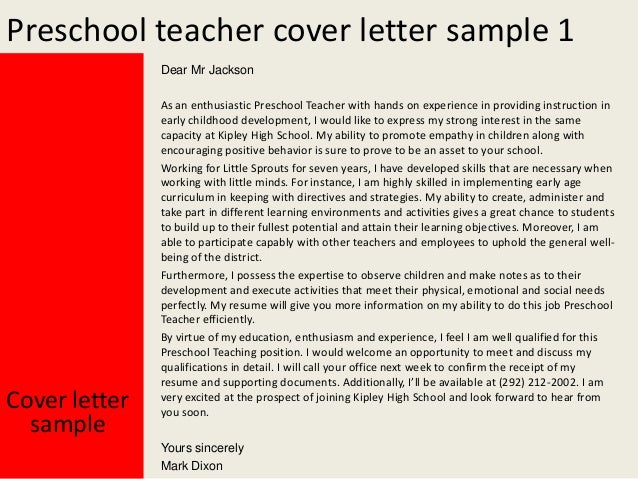 Preschool teacher cover letter – Sample Cover Letter Professor