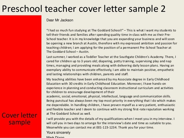 cover letter for preschool teachers