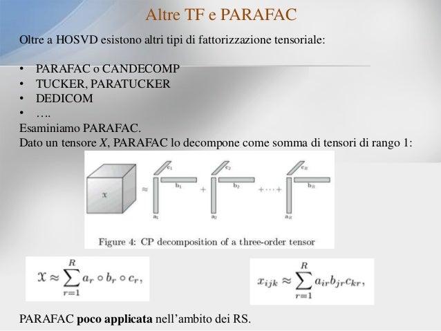 Altre TF e PARAFAC Oltre a HOSVD esistono altri tipi di fattorizzazione tensoriale: • PARAFAC o CANDECOMP • TUCKER, PARATU...