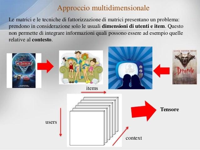 Approccio multidimensionale Le matrici e le tecniche di fattorizzazione di matrici presentano un problema: prendono in con...