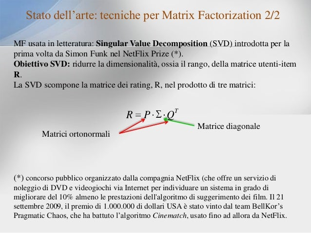 Stato dell'arte: tecniche per Matrix Factorization 2/2 MF usata in letteratura: Singular Value Decomposition (SVD) introdo...
