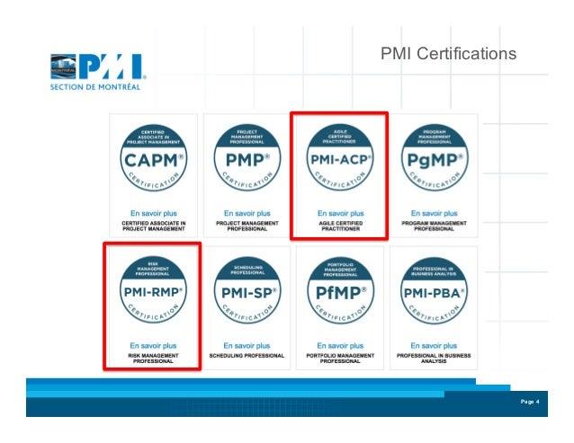 Prsentation Des Certifications Pmi Rmp Et Pmi Acp
