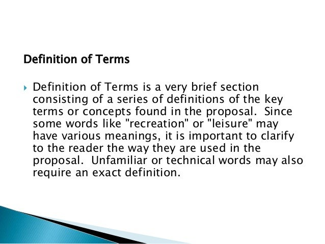 Research paper definitions section