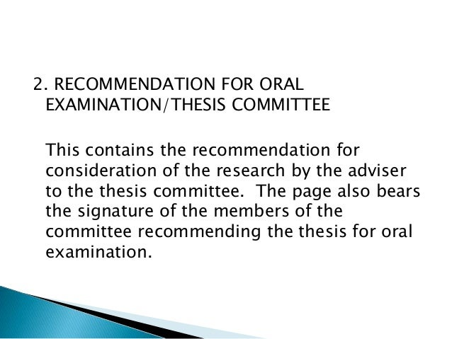 thesis recommendation part