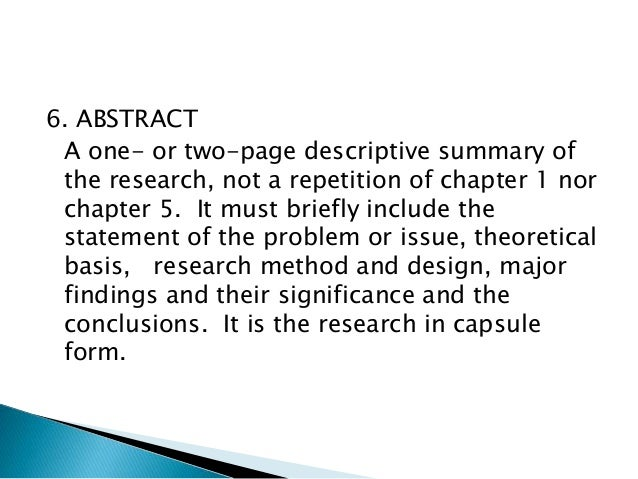 Parts of a thesis abstract