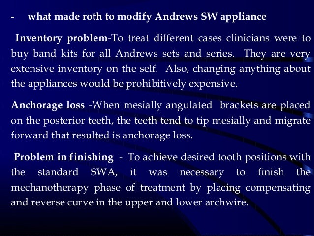 - what made roth to modify Andrews SW appliance Inventory problem-To treat different cases clinicians were to buy band kit...