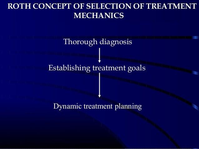 ROTH CONCEPT OF SELECTION OF TREATMENT MECHANICS Thorough diagnosis Establishing treatment goals Dynamic treatment planning