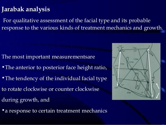 Jarabak analysis For qualitative assessment of the facial type and its probable response to the various kinds of treatment...