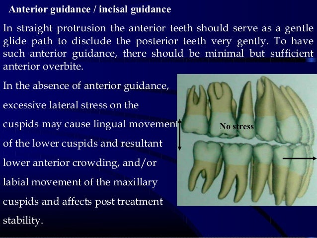 Anterior guidance / incisal guidance In straight protrusion the anterior teeth should serve as a gentle glide path to dis...