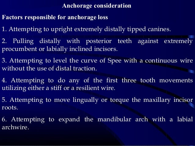 Anchorage consideration Factors responsible for anchorage loss 1. Attempting to upright extremely distally tipped canines....