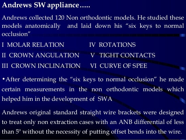 Andrews SW appliance….. Andrews collected 120 Non orthodontic models. He studied these models anatomically and laid down h...