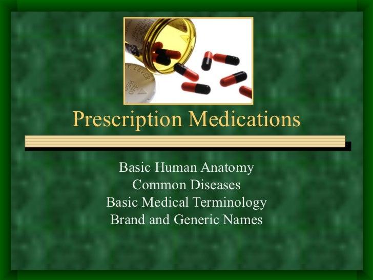 Prescription Medications Basic Human Anatomy Common Diseases Basic Medical Terminology Brand and Generic Names