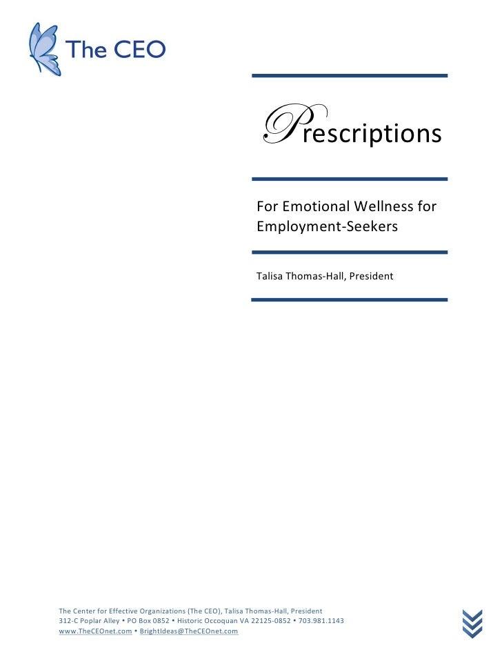 Prescriptions                                                         For Emotional Wellness for                          ...