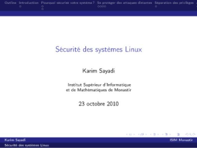 Sécurité des systèmes Linux