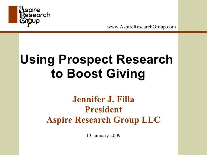 www.AspireResearchGroup.com                                                   Using Prospect                              ...
