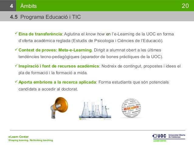 eLearn Center Shaping learning. Rethinking teaching 20 Eina de transferència: Aglutina el know how en l'e-Learning de la ...