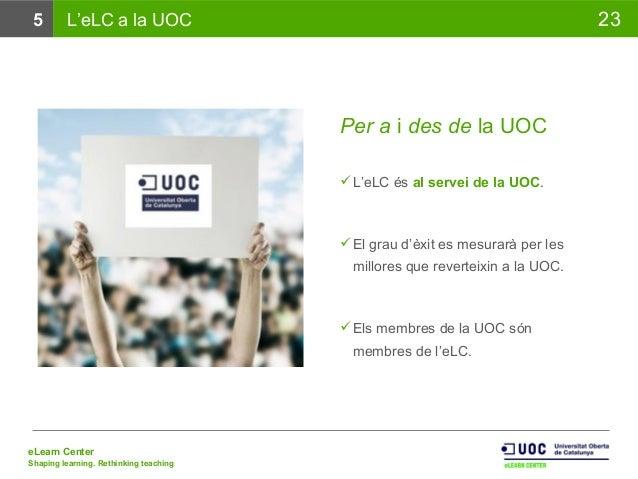eLearn Center Shaping learning. Rethinking teaching 235 L'eLC a la UOC Per a i des de la UOC L'eLC és al servei de la UOC...