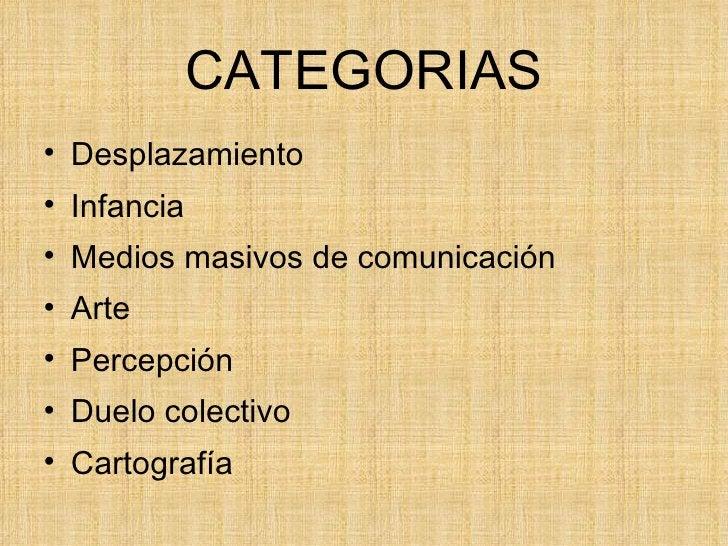 CATEGORIAS <ul><li>Desplazamiento </li></ul><ul><li>Infancia </li></ul><ul><li>Medios masivos de comunicación </li></ul><u...