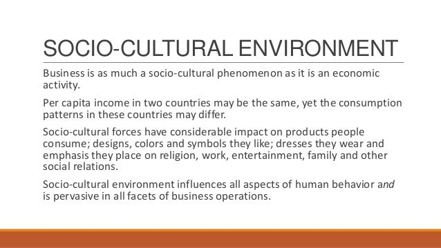 socio cultural environment and its impact on business