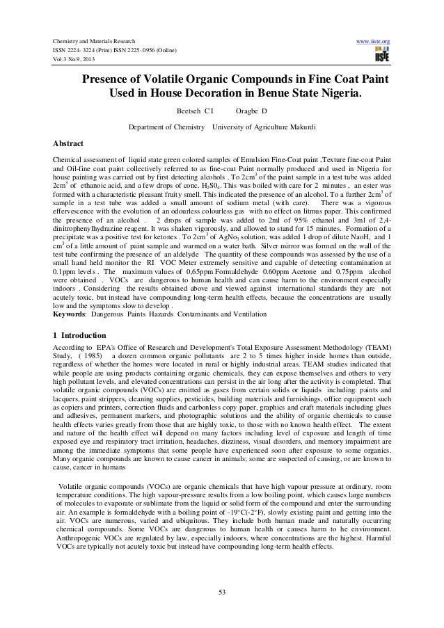 Chemistry and Materials Research www.iiste.org ISSN 2224- 3224 (Print) ISSN 2225- 0956 (Online) Vol.3 No.9, 2013 53 Presen...