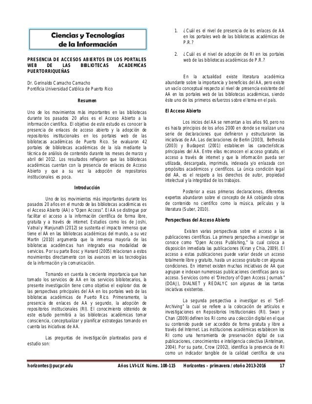 PRESENCIA DE ACCESOS ABIERTOS EN LOS PORTALES WEB DE LAS BIBLIOTECAS ACADEMICAS PUERTORRIQUEÑAS Dr. Gerinaldo Camacho Cama...