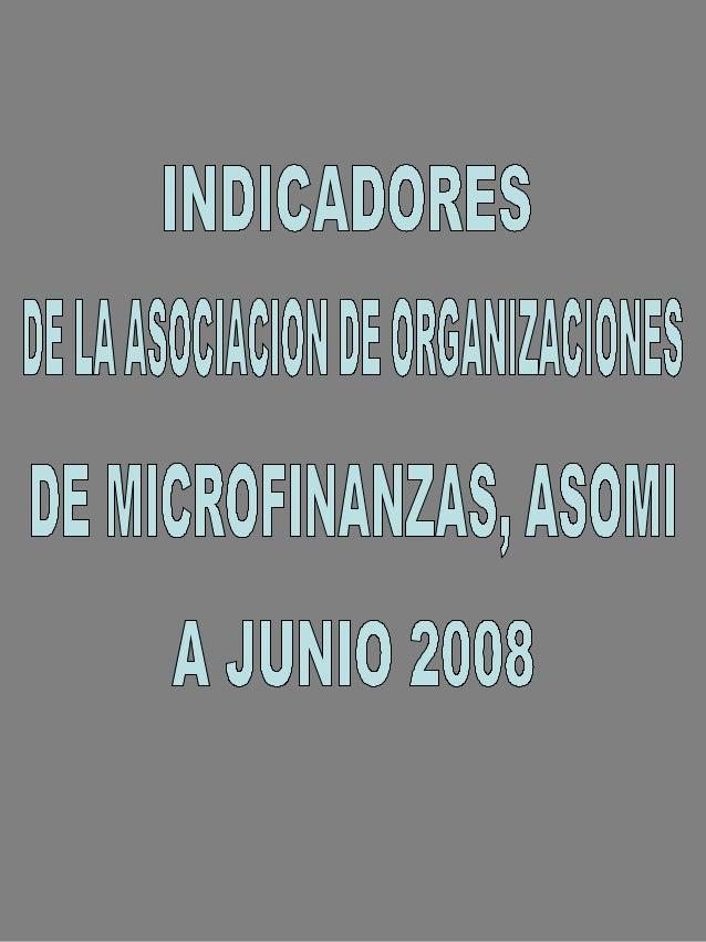 ASOCIACION DE ORGANIZACIONES DE  MICROFINANZAS DE EL SALVADOR  DATOS GENERALES INSTITUCIONALES       Al 30 de Junio del 2008