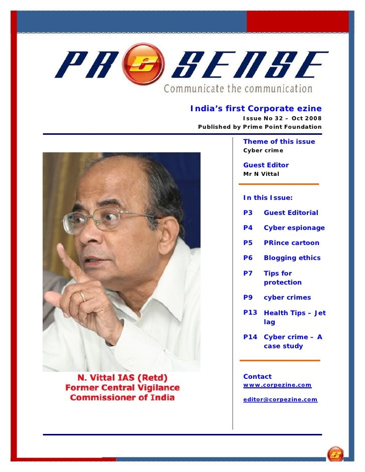India's first Corporate ezine               Issue No 32 – Oct 2008  Published by Prime Point Foundation               Them...