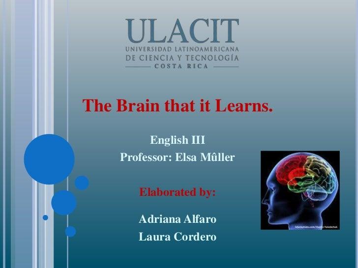 The Brain that it Learns.<br />English III<br />Professor: Elsa Mûller<br />Elaborated by: <br />Adriana Alfaro<br />Laura...
