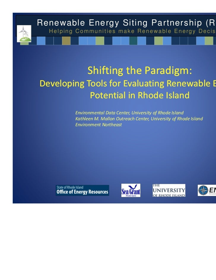Renewable Energy Siting Partnership (RESP):  Helping Communities make Renewable Energy Decisions              Shifting the...
