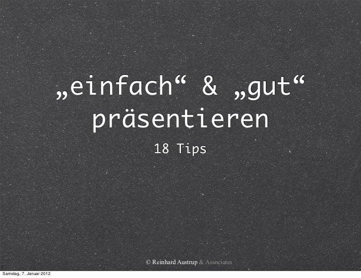 """""""einfach"""" & """"gut""""                            präsentieren                                  18 Tips                        ..."""