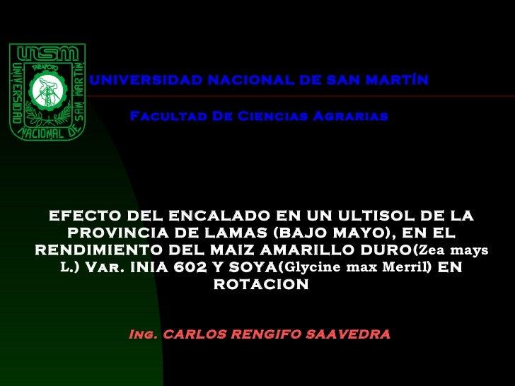 UNIVERSIDAD NACIONAL DE SAN MARTÍN  Facultad De Ciencias Agrarias   EFECTO DEL ENCALADO EN UN ULTISOL DE LA PROVINCIA DE...