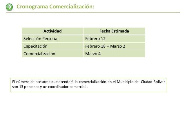 Cronograma Comercialización:                  Actividad                       Fecha Estimada      Selección Personal      ...