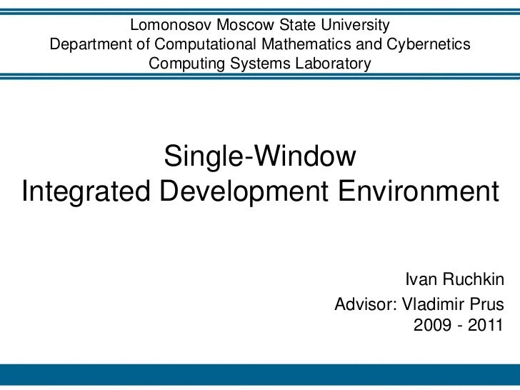 Lomonosov Moscow State University  Department of Computational Mathematics and Cybernetics               Computing Systems...